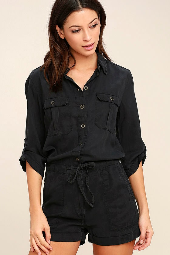 f67d8185bb5 Cute Washed Black Romper - Button-Up Romper - Tencel Romper -  88.00
