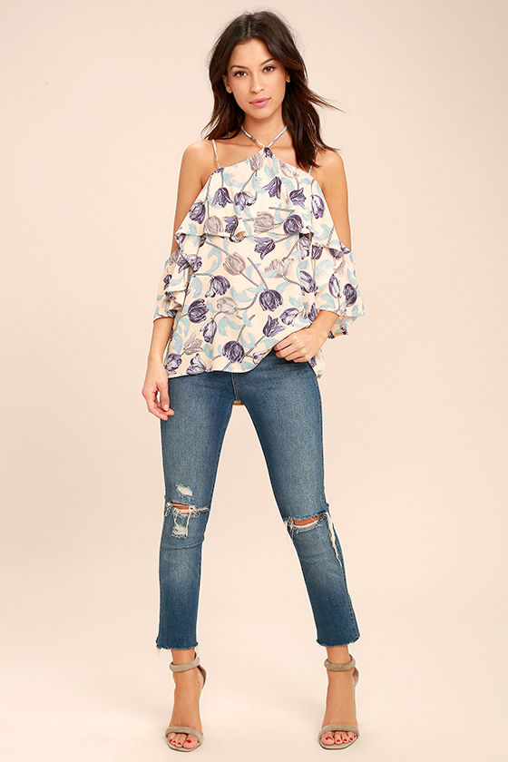 Nothing But Flowers Blush Floral Print Off-the-Shoulder Top 2