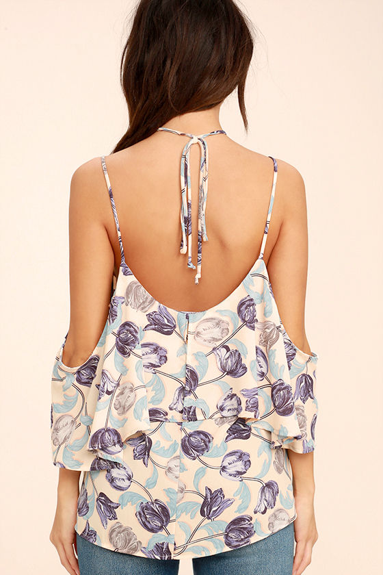 Nothing But Flowers Blush Floral Print Off-the-Shoulder Top 4