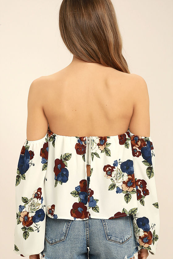 In Your Arms White Floral Print Off-the-Shoulder Top 4