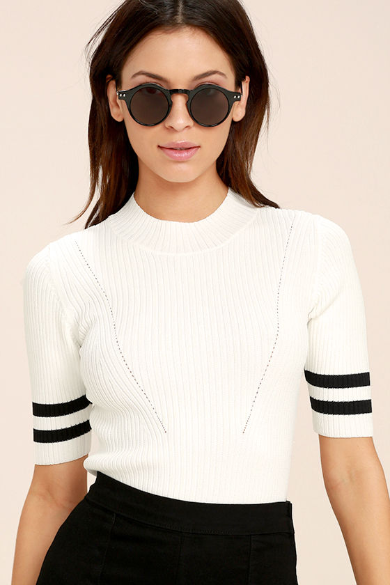 College Try Black and White Striped Top 3