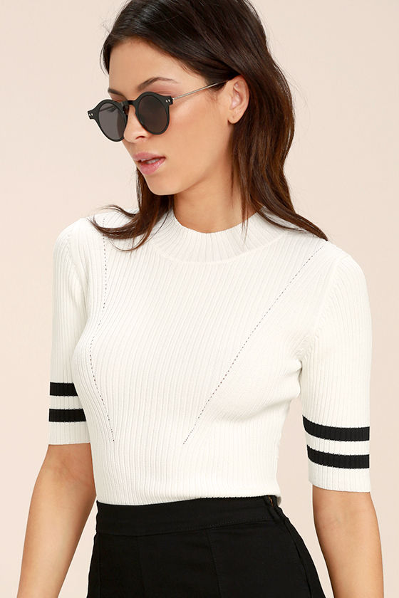 College Try Black and White Striped Top 1