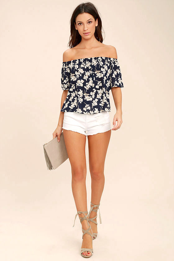 Think of Me Frondly Navy Blue Floral Print Off-the-Shoulder Top 2