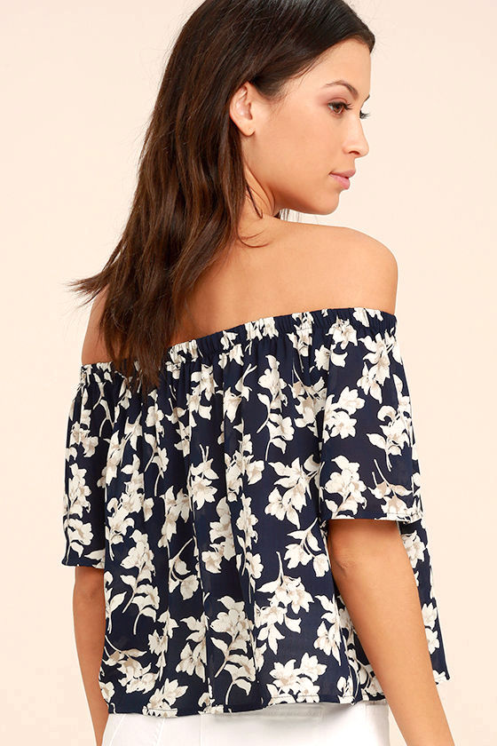 Think of Me Frondly Navy Blue Floral Print Off-the-Shoulder Top 3