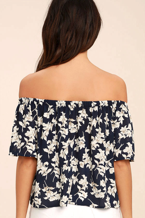 Think of Me Frondly Navy Blue Floral Print Off-the-Shoulder Top 4