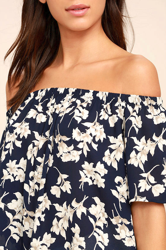 Think of Me Frondly Navy Blue Floral Print Off-the-Shoulder Top 5