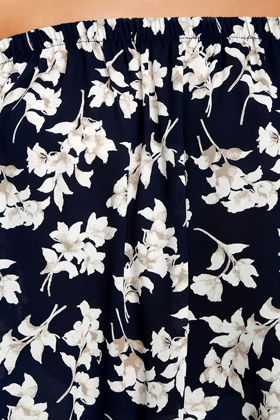 Think of Me Frondly Navy Blue Floral Print Off-the-Shoulder Top 6