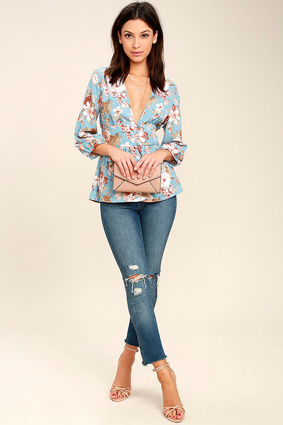 Reflections of Me Light Blue Floral Print Top 2