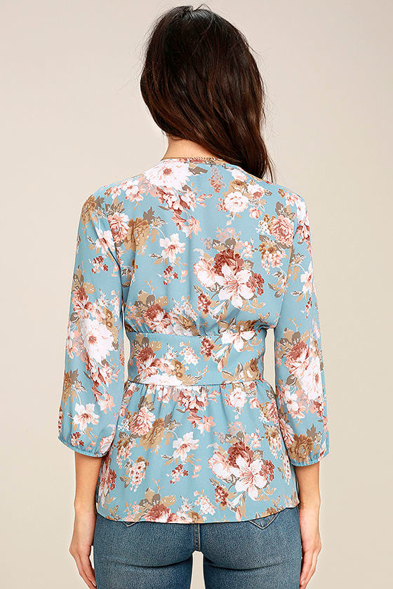 Reflections of Me Light Blue Floral Print Top 4