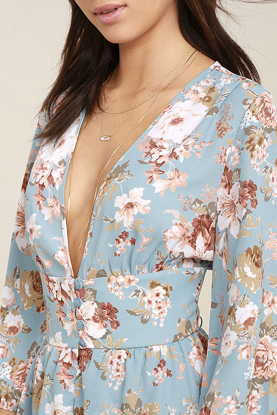 Reflections of Me Light Blue Floral Print Top 5