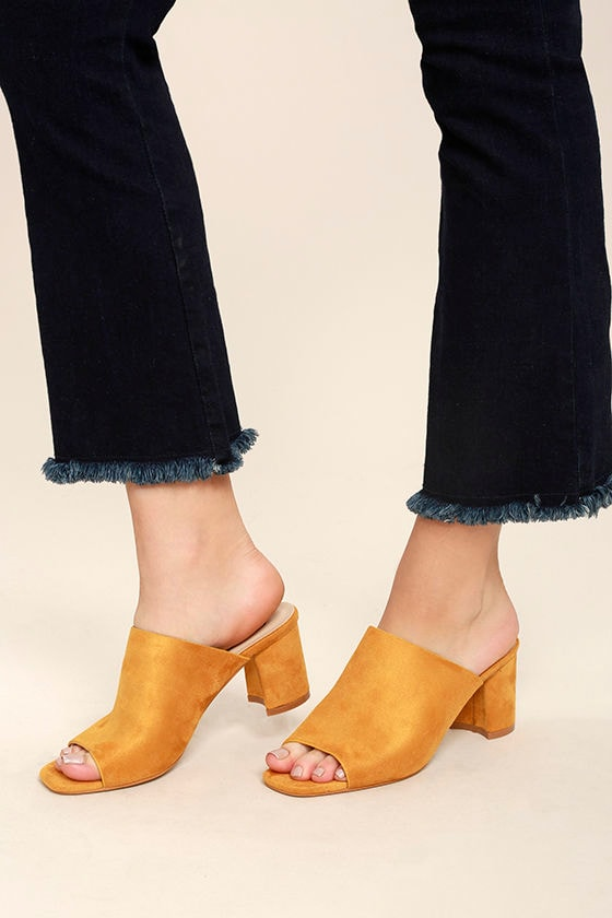 Cecily Mustard Suede Peep-Toe Mules 1