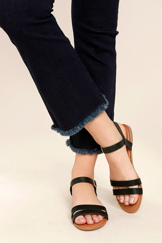 46ca859cf Cute Black Sandals - Strappy Black Sandals - Vegan Leather Sandals ...