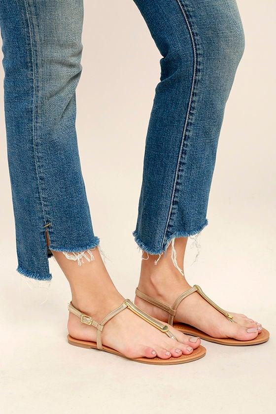 Cameron Gold Distressed Flat Sandals 2