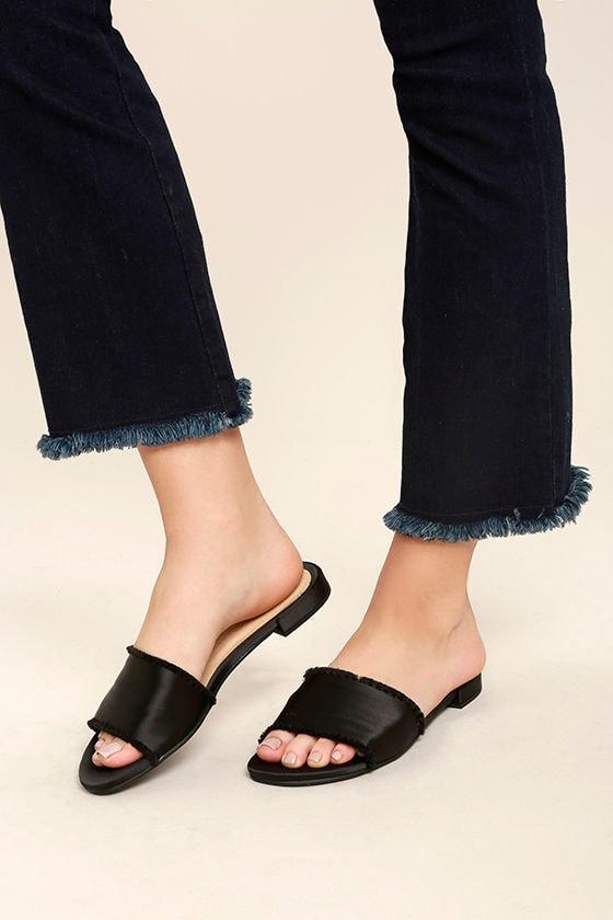 Chinese Laundry Pattie Black Satin Slide Sandals 1