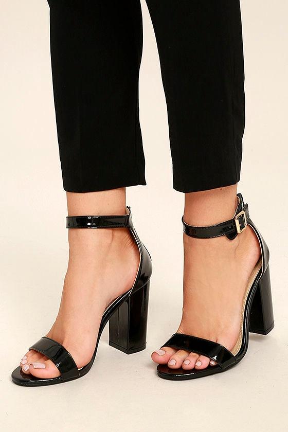 Sexy Black Heels - Black Patent Heels - Black Ankle Strap Heels -  39.00