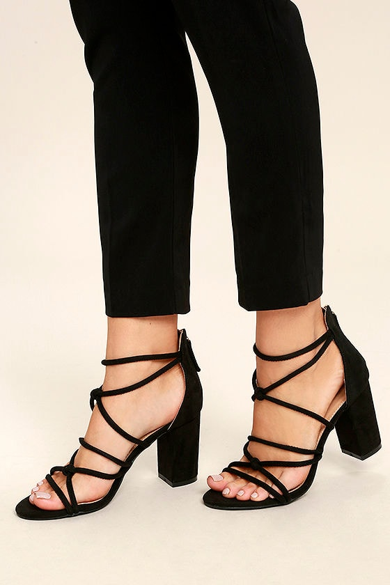 Caley Black Suede Ankle Strap Heels 1