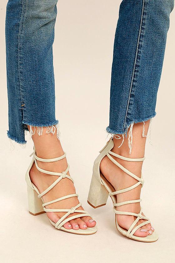 Caley Beige Suede Ankle Strap Heels 2