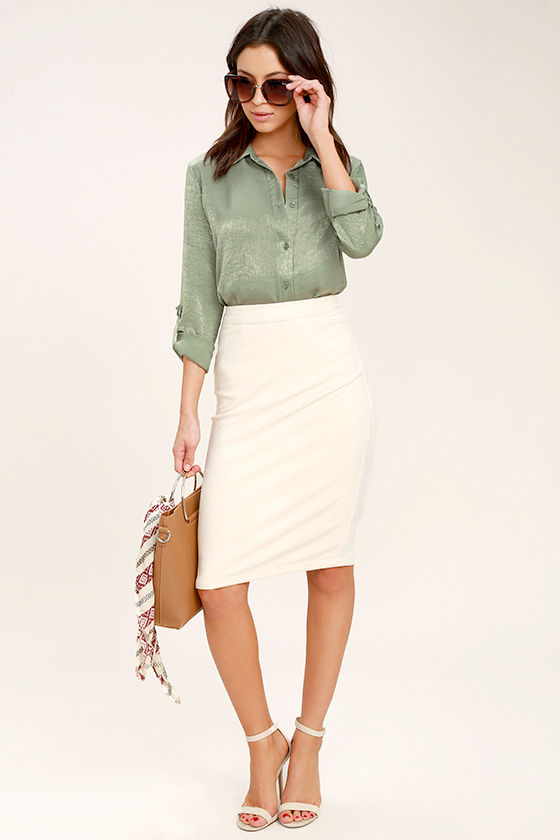 2726c6fc40961a Chic Sage Green Top - Satin Top - Button-Up Top - Satin Blouse -  49.00