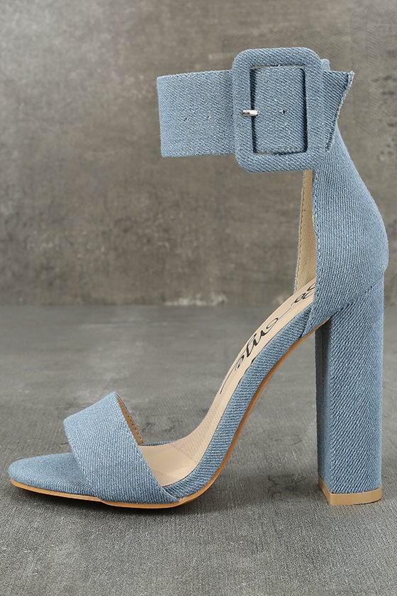 3e57db17d Chic Blue Denim Heels - Denim Ankle Strap Heels - Blue Heels -  37.00