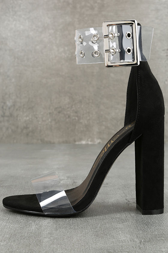 0f211732b7e Sexy Black Heels - Lucite Heels - Black Ankle Strap Heels -  38.00