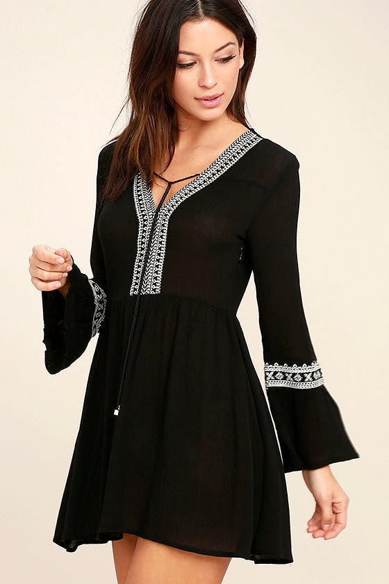Daydreaming of You Black and White Embroidered Dress 1