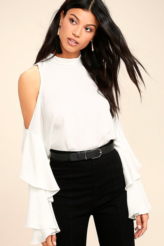 98cf51e3d9f64c Chic White Top - Cold Shoulder Top - Long Sleeve Top -  44.00