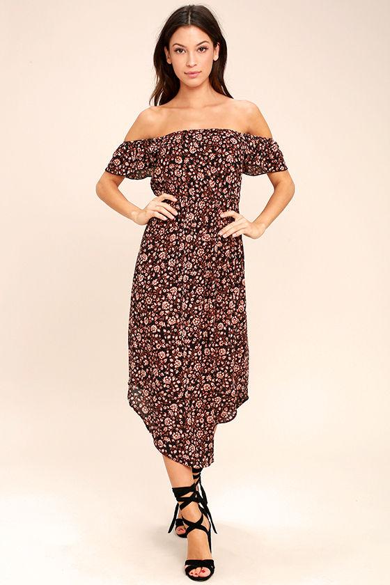 189df374f5 Amuse Society Sheer Bliss - Off-the-Shoulder Dress - Black Floral Print  Dress -  56.00