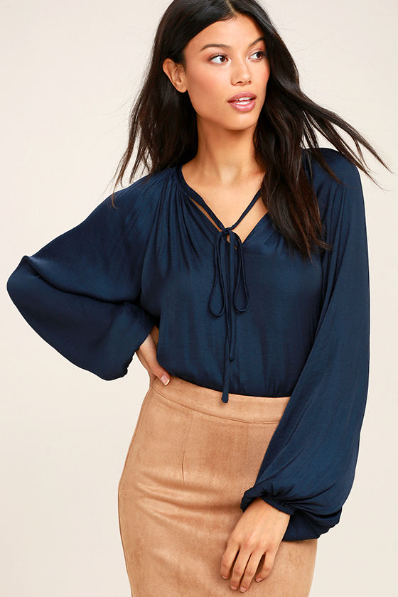 Pure Moonlight Navy Blue Long Sleeve Top 1