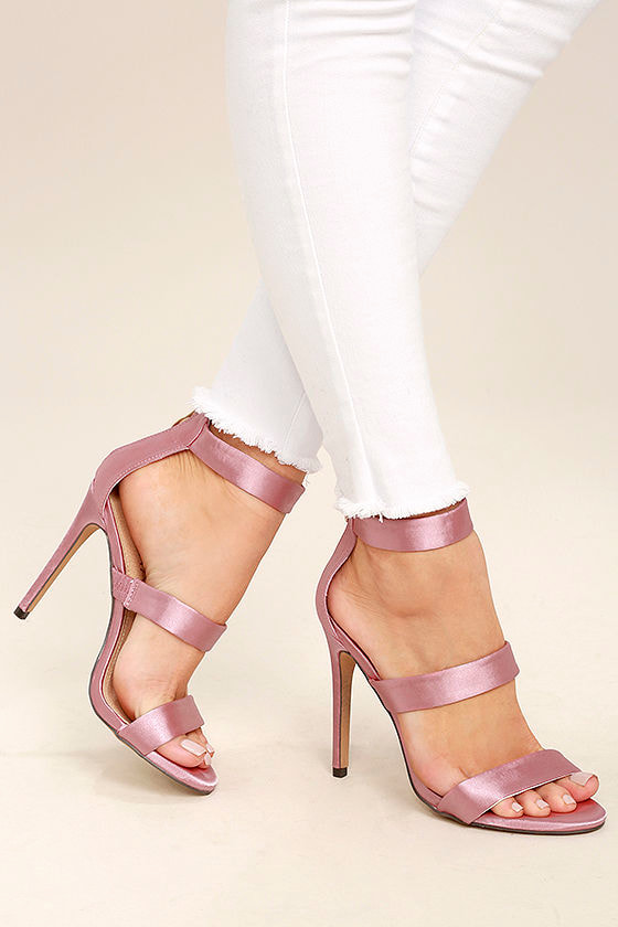 Bellanca Dusty Pink Ankle Strap Heels 1