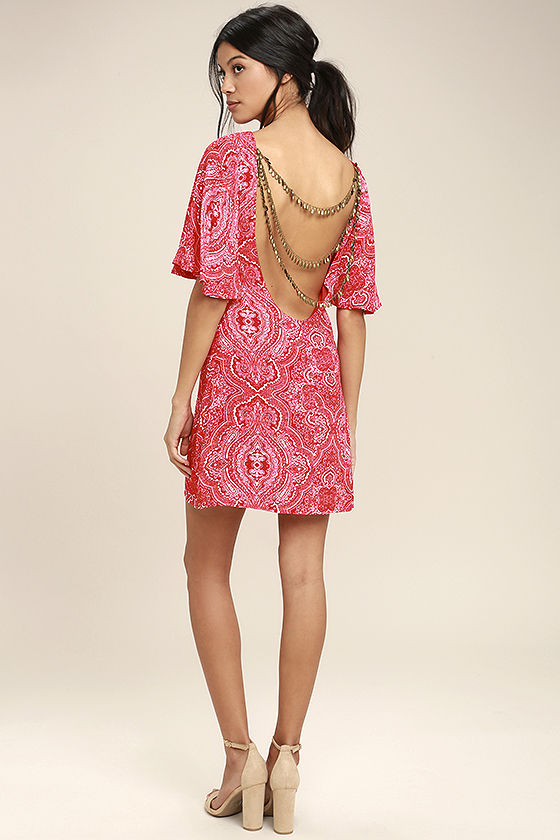 Start a Party Red Print Backless Shift Dress 2