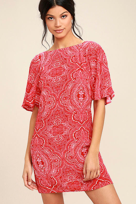 Start a Party Red Print Backless Shift Dress 3