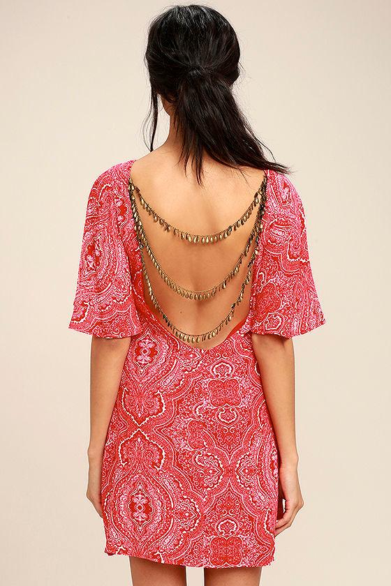 Boho Red Print Dress - Backless Dress - Shift Dress - $62.00