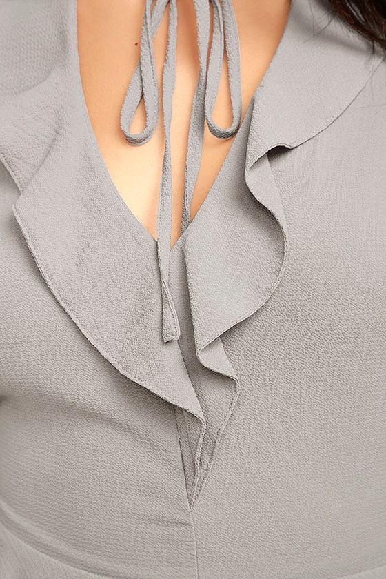 Sugar Sweet Grey Long Sleeve Peplum Top 6