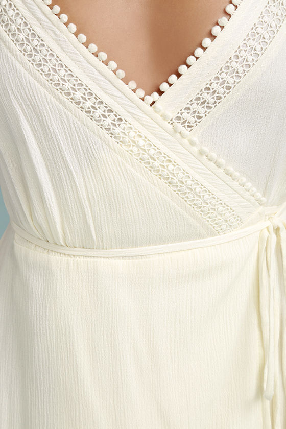 Everything About You Cream Lace Wrap Dress 6