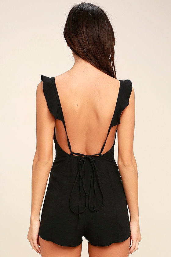 Dance it Out Black Backless Romper 4