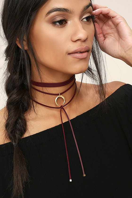 Cosmic Dancer Gold and Burgundy Wrap Necklace 1