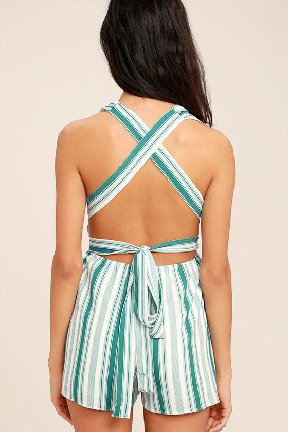 Pull Me Closer Turquoise Striped Romper 4