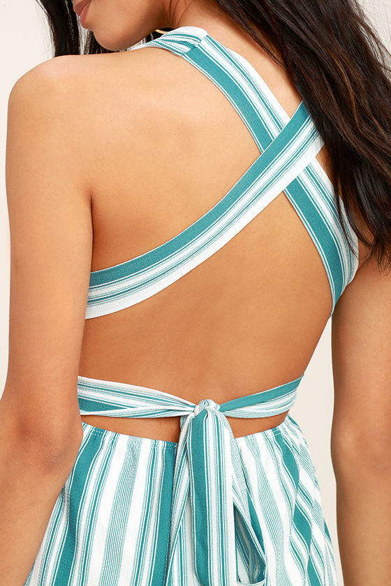 Pull Me Closer Turquoise Striped Romper 5