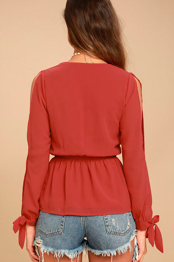 Mutual Attraction Red Long Sleeve Top 3