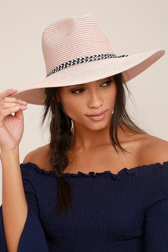New Me Blush Floppy Straw Hat 1