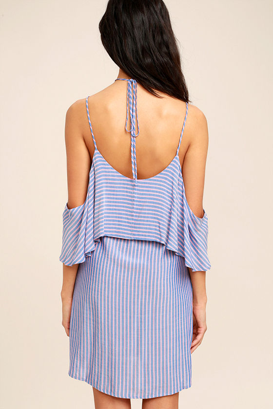 Ready or Yacht Blue Striped Off-the-Shoulder Dress 4
