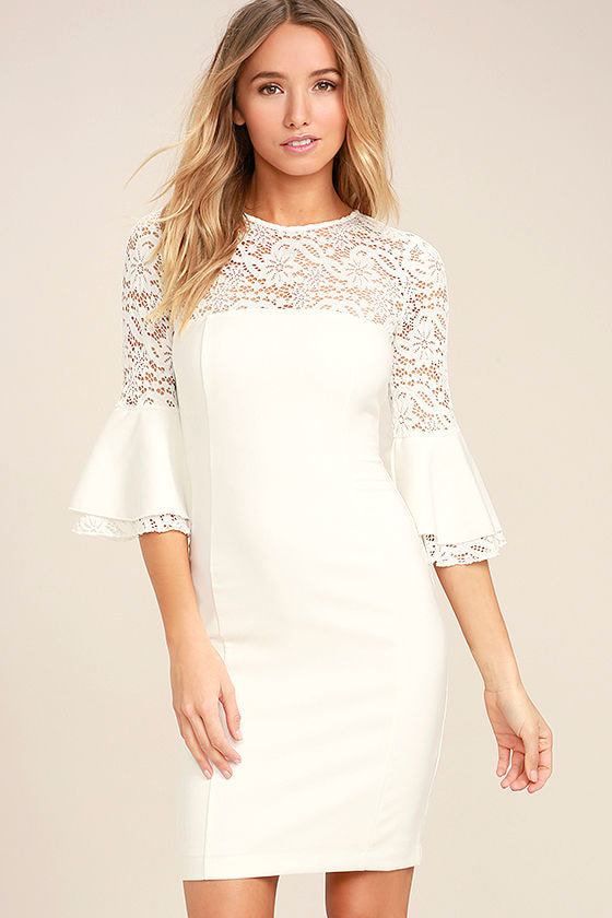 Uncontested Beauty White Lace Bodycon Dress 1