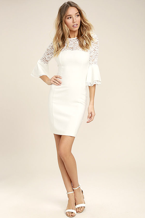 Uncontested Beauty White Lace Bodycon Dress 2