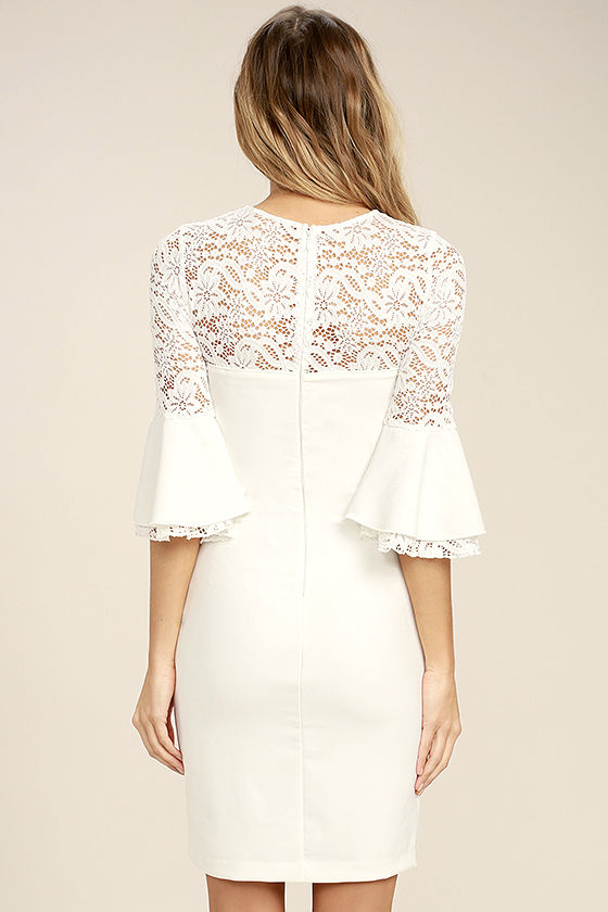 Uncontested Beauty White Lace Bodycon Dress 4