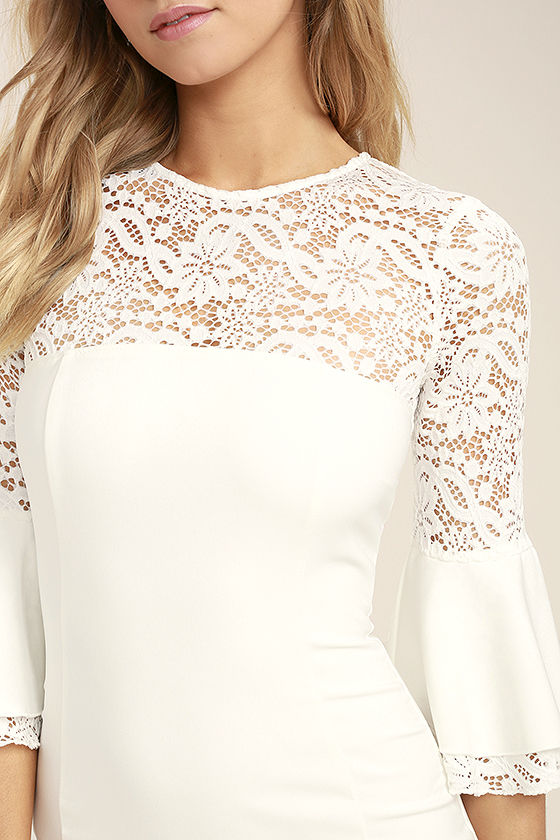 Uncontested Beauty White Lace Bodycon Dress 5