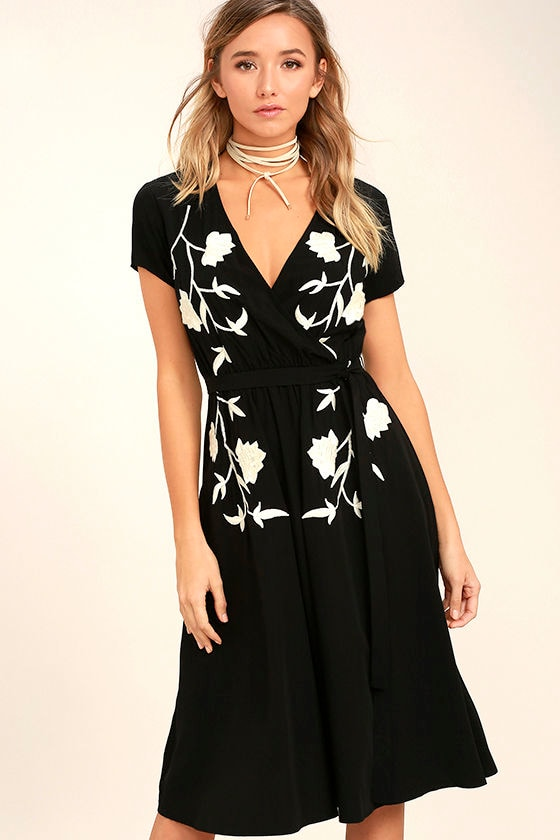 I Heart You Black Embroidered Midi Dress 1