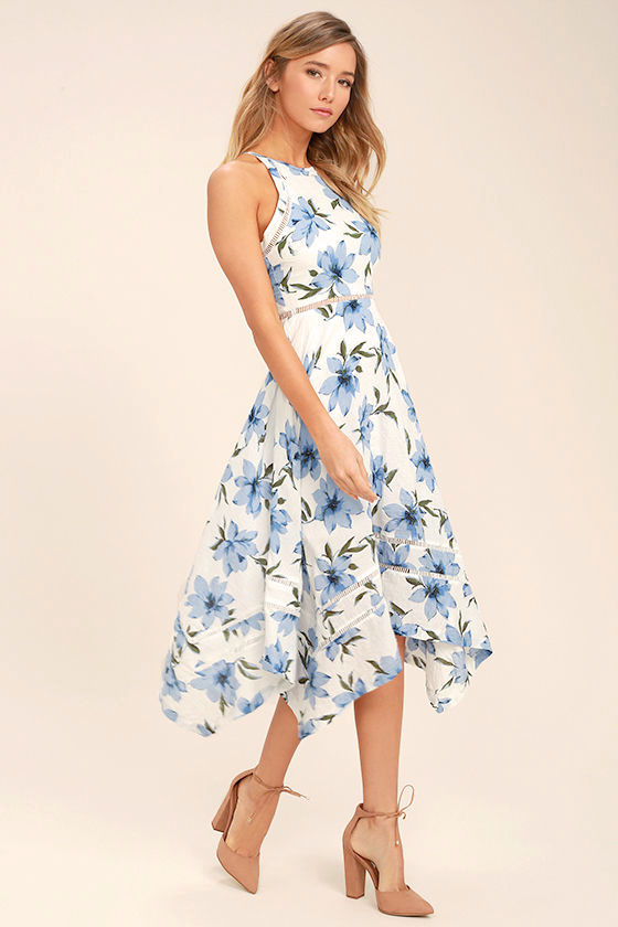 Lovely Blue and White Dress - Floral Print Dress - Floral Midi ...