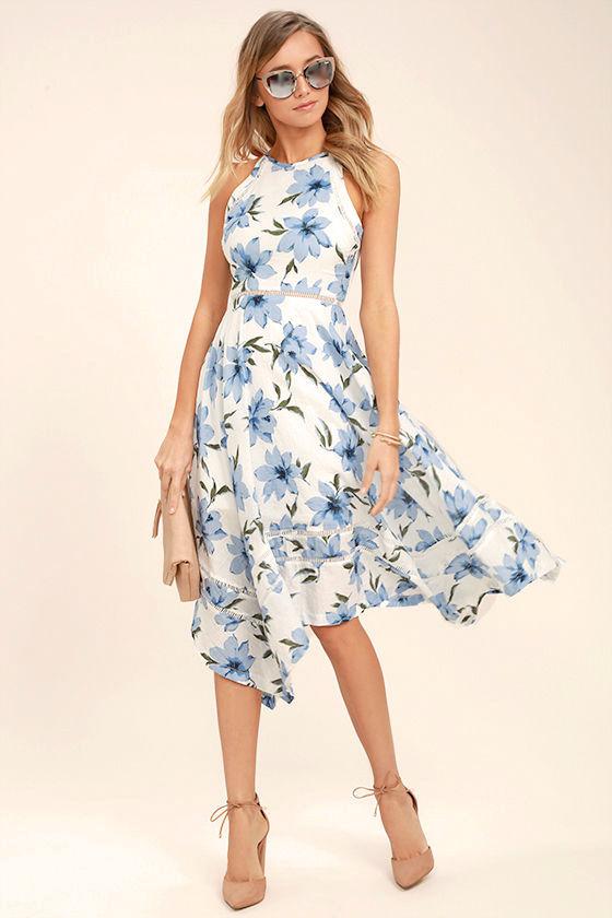blue and white flower girl dresses - 1000  white flowers