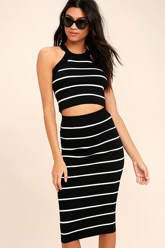7995687306 Chic Black and White Skirt - Striped Skirt - Pencil Skirt - Midi Skirt -  $39.00