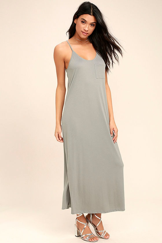 PPLA Frida Light Grey Midi Dress 1